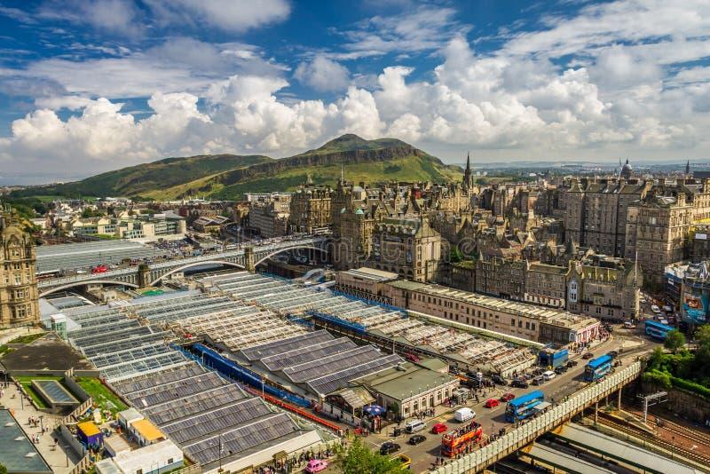 View to train station in Edinburgh royalty free stock photo