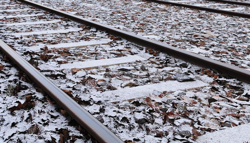 Snow on tracks of a tramway stock photography