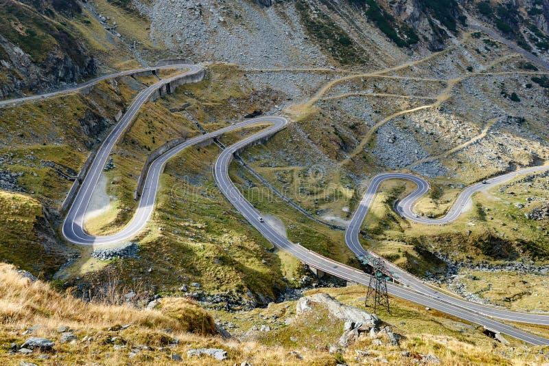 Transfagarasan mountain road. View to Transfagarasan road. It is a paved mountain road crossing the southern section of the Carpathian Mountains of Romania. It royalty free stock photo