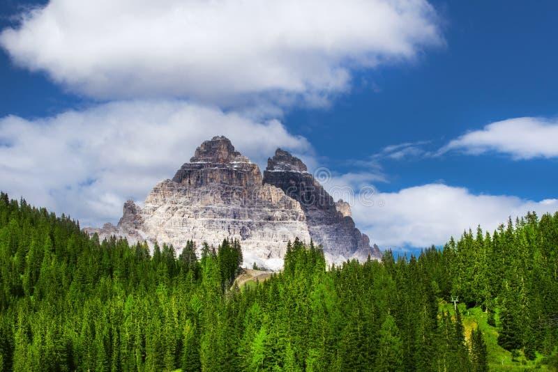 View to the Tre Cime di Lavaredo in Dolomites, Italy, Europe stock photo