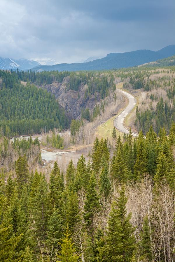 View in to a valley in the Rocky Mountains in Sheep River Provincial Park, Alberta stock image
