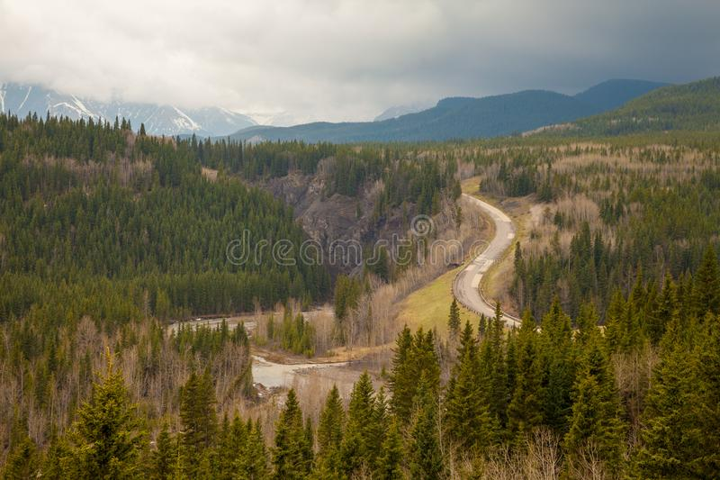 View in to a valley in the Rocky Mountains in Sheep River Provincial Park, Alberta stock photography