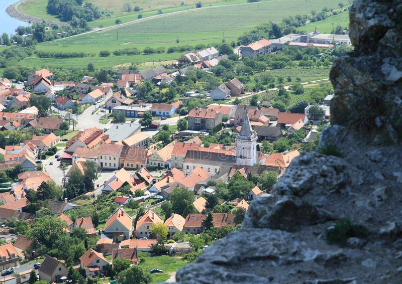 View from Castle Devicky on Palava stock photography