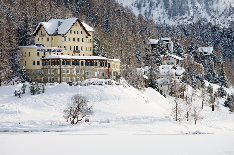 View to the Waldhaus am See hotel in Saint Moritz, Switzerland. stock image