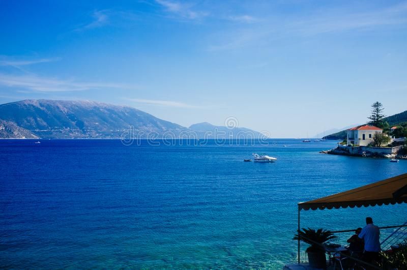 Greece - Ithaca 13. A view to the western shore of Ithaca island, taken from Fiscardo - Kefalonia royalty free stock images