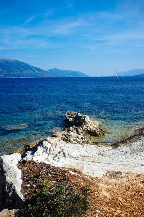 Greece - Ithaca 2. A view to the western shore of Ithaca island, taken from Kefalonia royalty free stock images