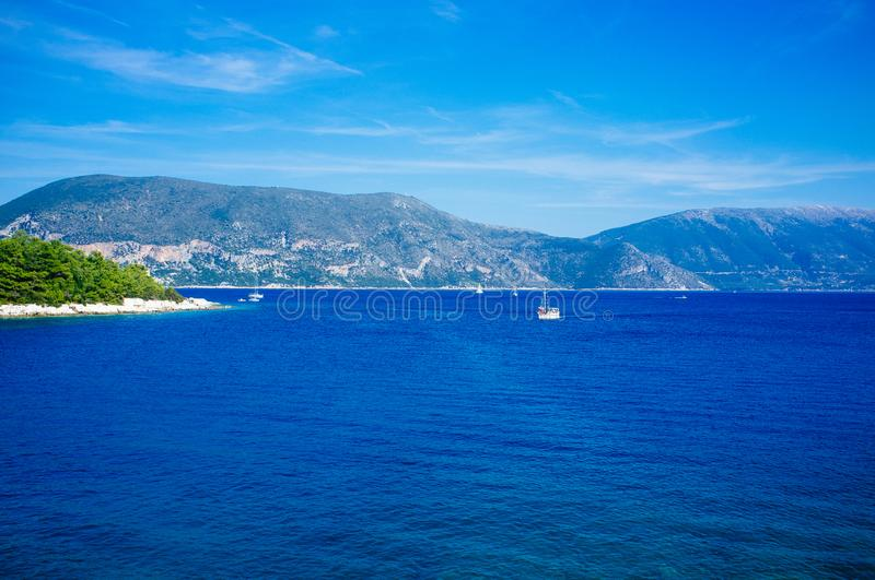 Greece - Ithaca 11. A view to the western shore of Ithaca island, taken from Kefalonia stock images
