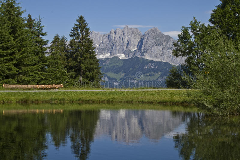 View to Wilder Kaiser mountains stock photography