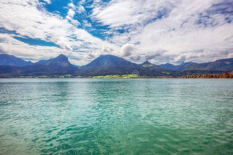 Wolfgangsee in Salzkammergut. View to Wolfgangsee in Salzkammergut, Austria, Europe royalty free stock image