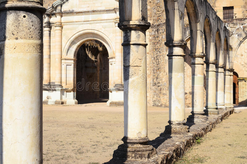 View to the yard of Convento de Cuilapam in Oaxaca royalty free stock image