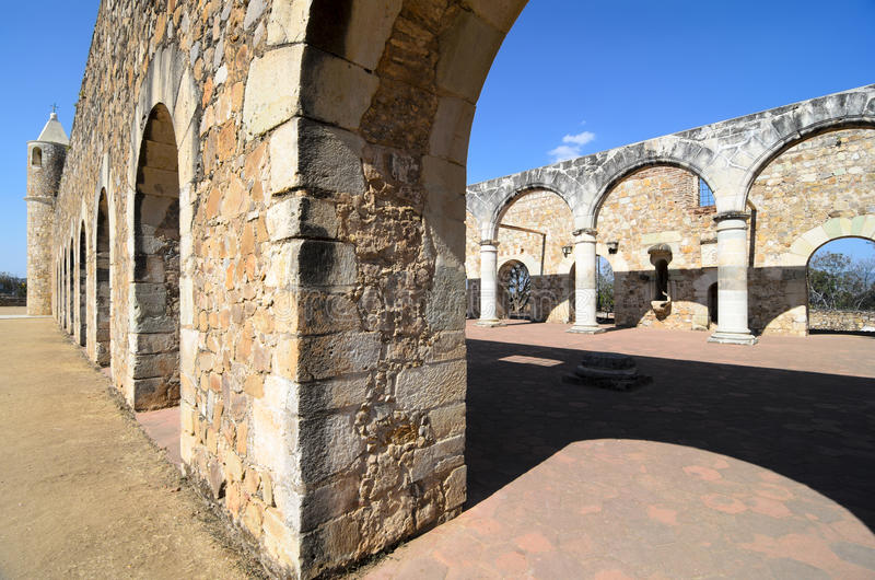 View to the yard of Convento de Cuilapam in Oaxaca stock photo