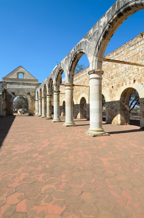 View to the yard of Convento de Cuilapam in Oaxaca stock photos