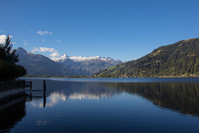 View To Zell Am See Lake Zell & Kitzsteinhorn. Taken on October 1st, 2015 - Wonderful and sunny days in fall with also already some snow on the more than 3.000m royalty free stock images