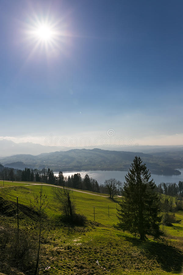 View to Zugersee ans Swiss Alps from Zugerberg, Switzerland. View to Zugersee ans Swiss Alps from Zugerberg, Central Switzerland royalty free stock photography