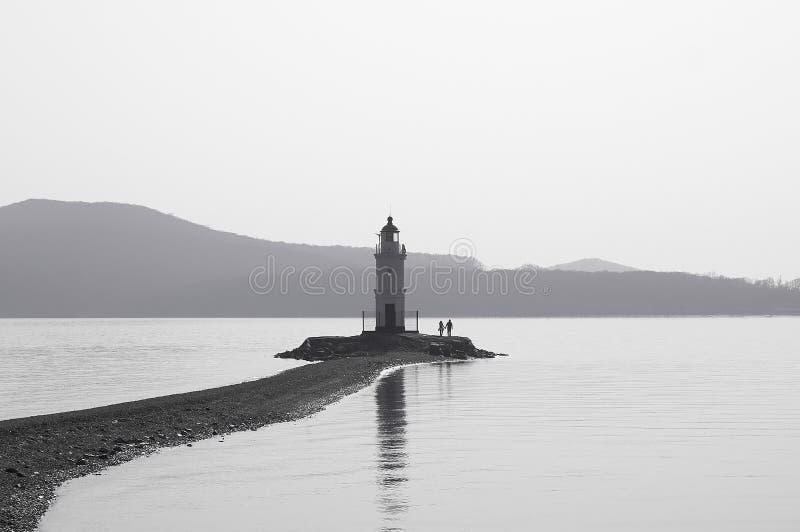 A View of Tokarevskiy Lighthouse in Vladivostok, Russia. Black and White. stock photo