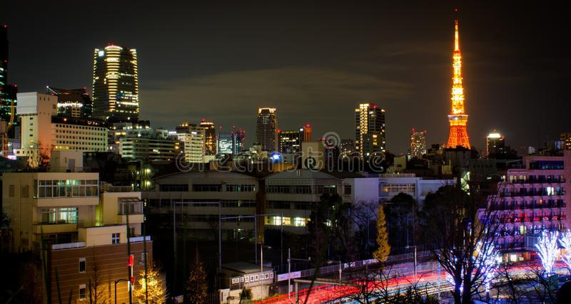 View of Tokyo tower from roppongi hills royalty free stock images