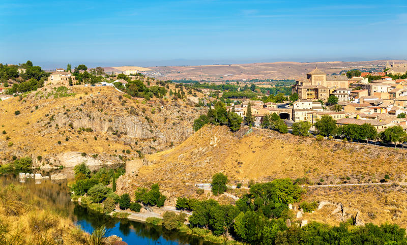 View of Toledo above the Tagus River in Spain stock photography