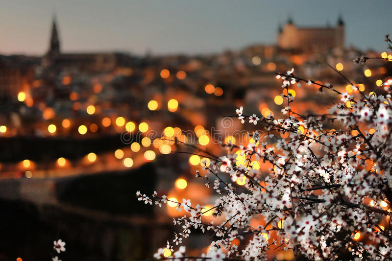 View of Toledo with almond blossom, Spain stock photography