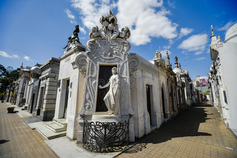 View of the tomb of Rufina Cambaceres. Buenos Aires, Argentina - Sept 23, 2016: View of the tomb of Rufina Cambaceres (center) at the La Recoleta Cemetery in royalty free stock photography