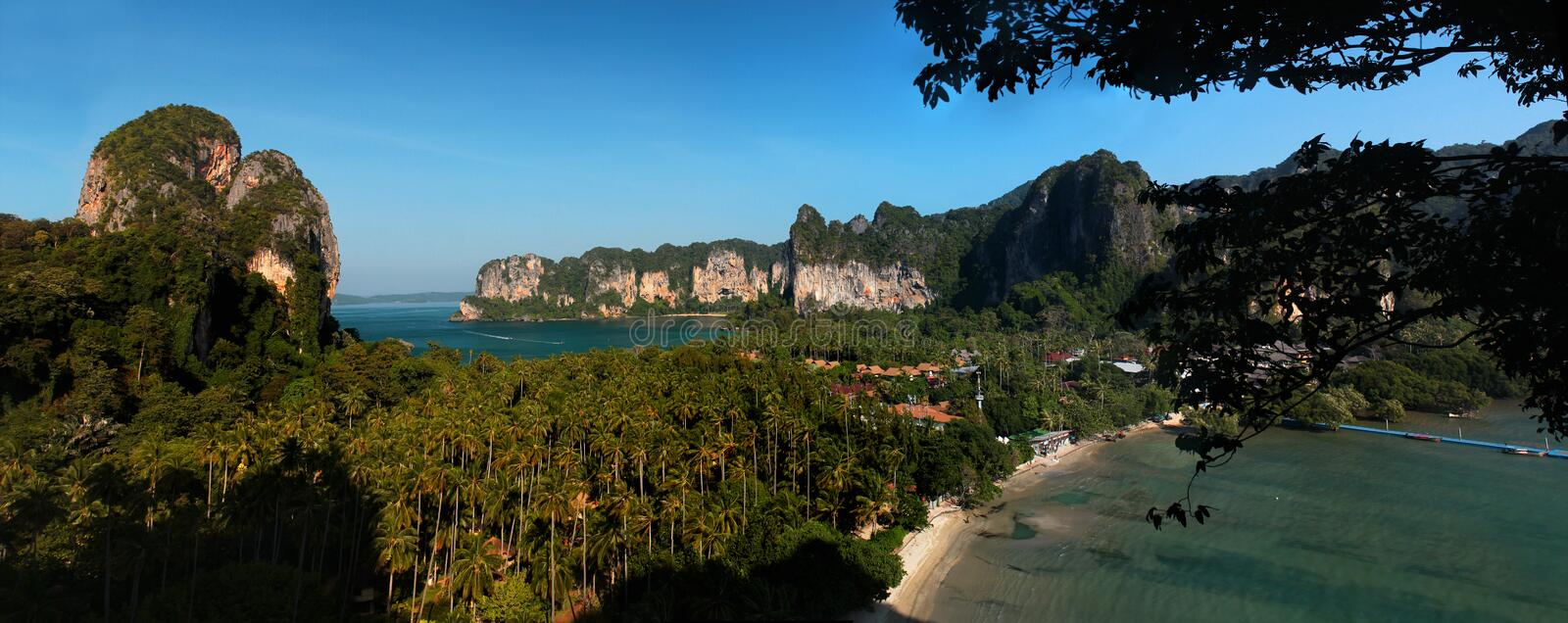 View of Tonsai Bay with the famous Railey West and East Beaches and Tonsai Beach in Krabi, Thailand.  stock image