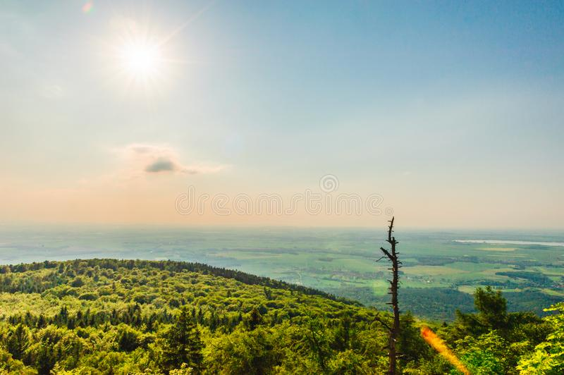 View from the top of Ślęża. To the plain below royalty free stock photography