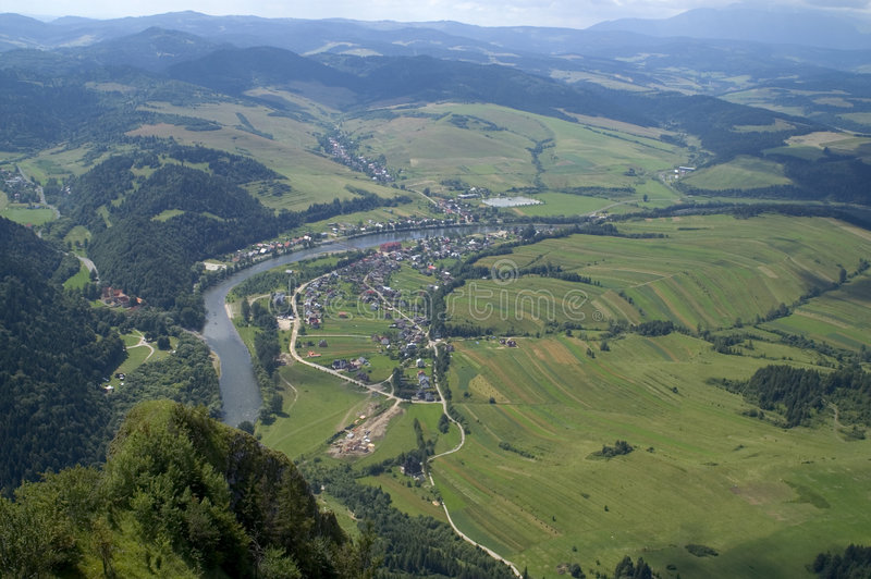 View from top. Beautiful View from top Polish mountain Pieniny Three Crown stock photos