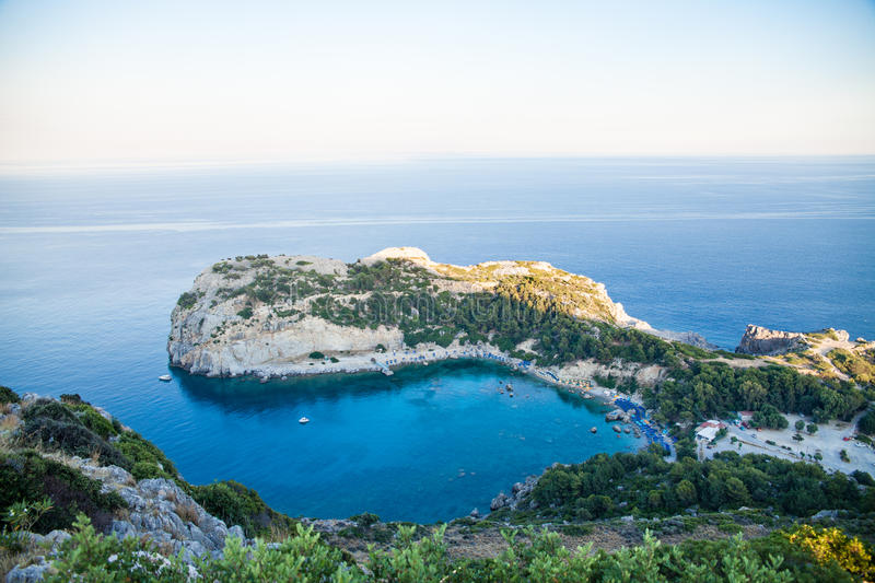 View from top on Anthony Quinn Bay and beach, Rhodes in Faliraki, Greece.Beautiful beach and bay on the island of Rhodes. royalty free stock images