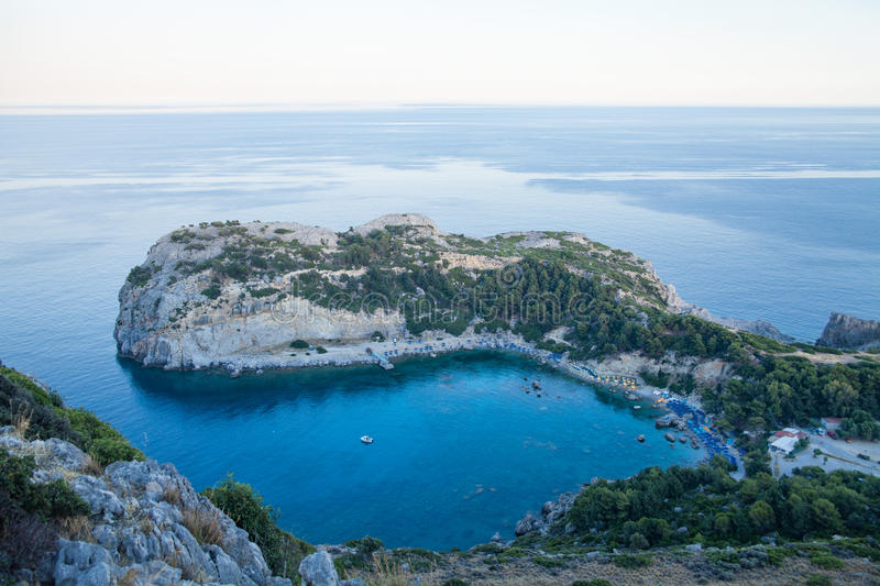 View from top on Anthony Quinn Bay and beach, Rhodes in Faliraki, Greece.Beautiful beach and bay on the island of Rhodes. royalty free stock photo