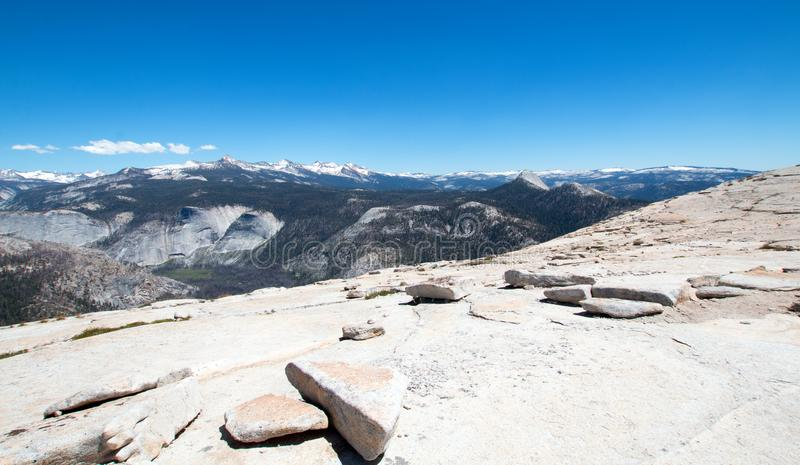 View from the top of the back side of Half Dome in Yosemite National Park in California USA stock images