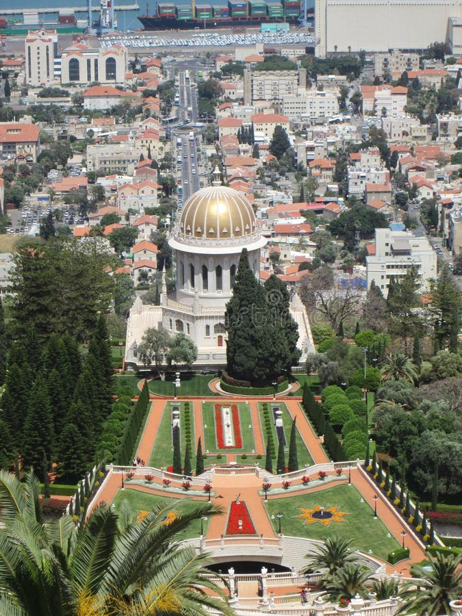 The view from the top. The view on the Bahai gardens fron the top royalty free stock photo