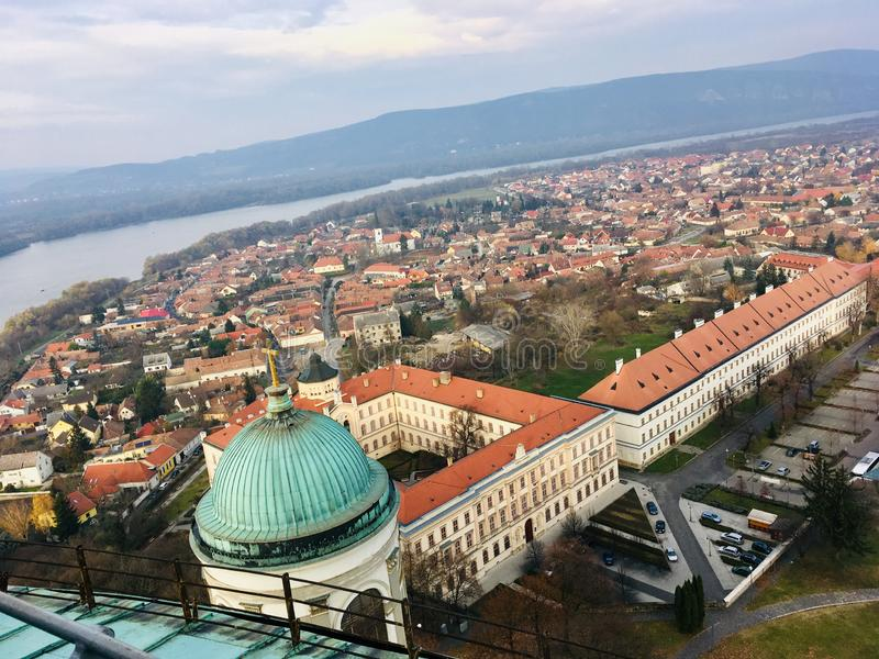 View from the top of Basilica of Esztergom. Hungary royalty free stock photo