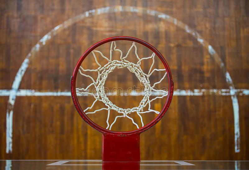 View basketball hoop. View from the top of the basketball hoop stock images