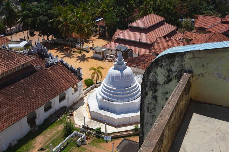 View from the top of Buddha statue. Dickwella, Sri Lanka. Dickwella, Sri Lanka - January 29,2019: View from the top of Buddha statue. Wewurukannala Vihara temple stock photos