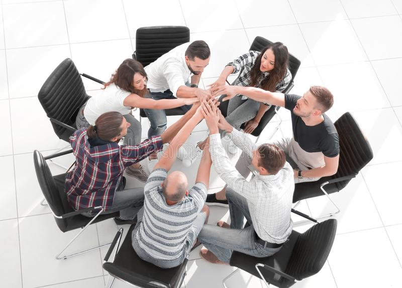 View from the top. business team shows its unity royalty free stock images