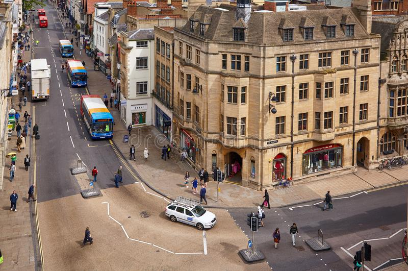 View from the top of Carfax Tower to the center of the Oxford city. Oxford University. England royalty free stock photo