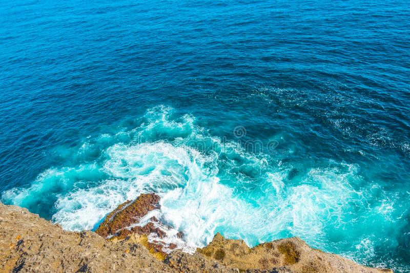 View from the Top of the Cliff to the Surf stock photography