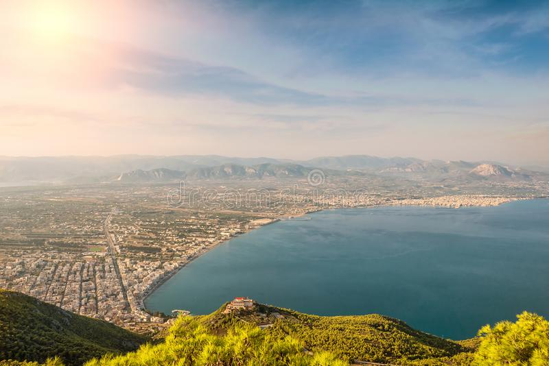 View from the top of the Corinth isthmus and the resort town of Loutraki, Corinthia, Greece stock images