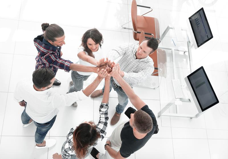 View from the top.creative group of young people stock images