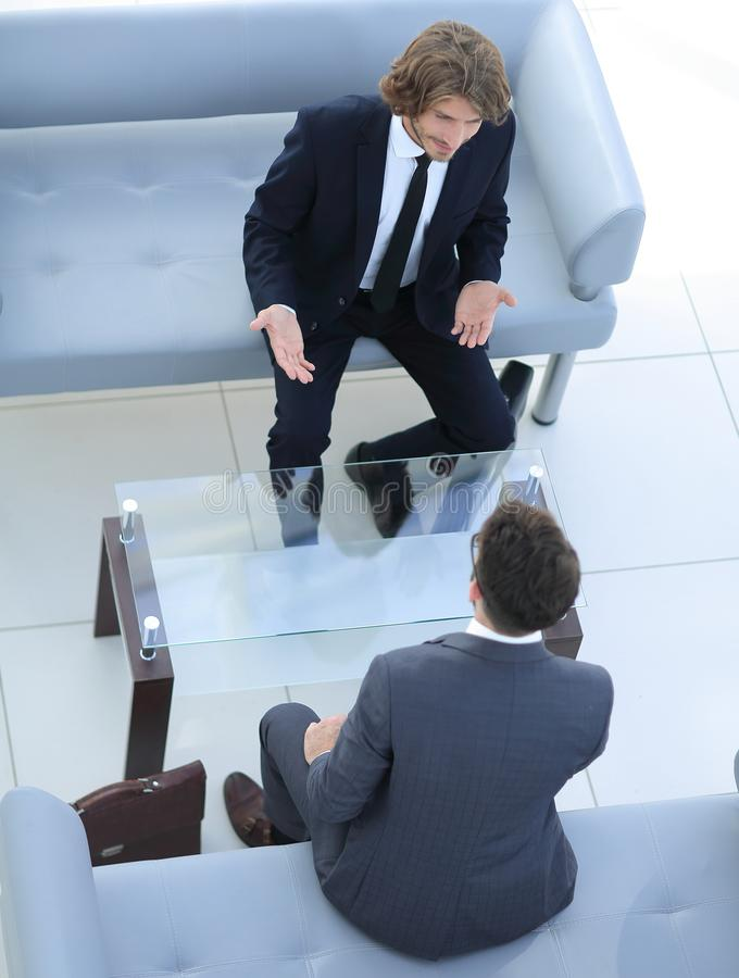 Dialogue between two business people stock photo