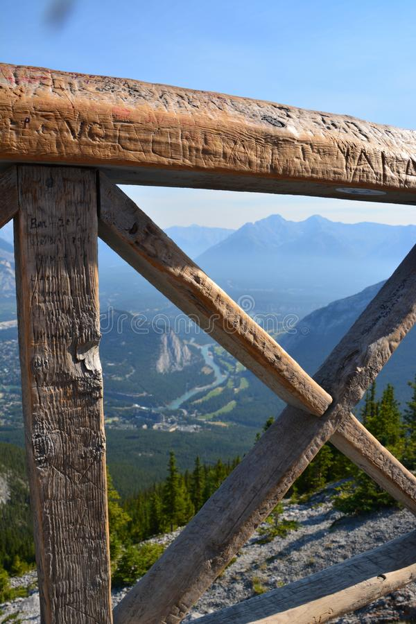 View on top of Gondala in Banff. Amazing view on the top of the mountain in Banff national park royalty free stock photography