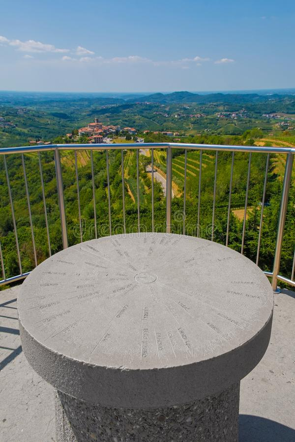 Gonjace Observation Tower. The view from the top of the Gonjace Observation Tower on Mejnik Hill in Primorska, Slovenia. Smartno can be seen in the distance. In royalty free stock photos