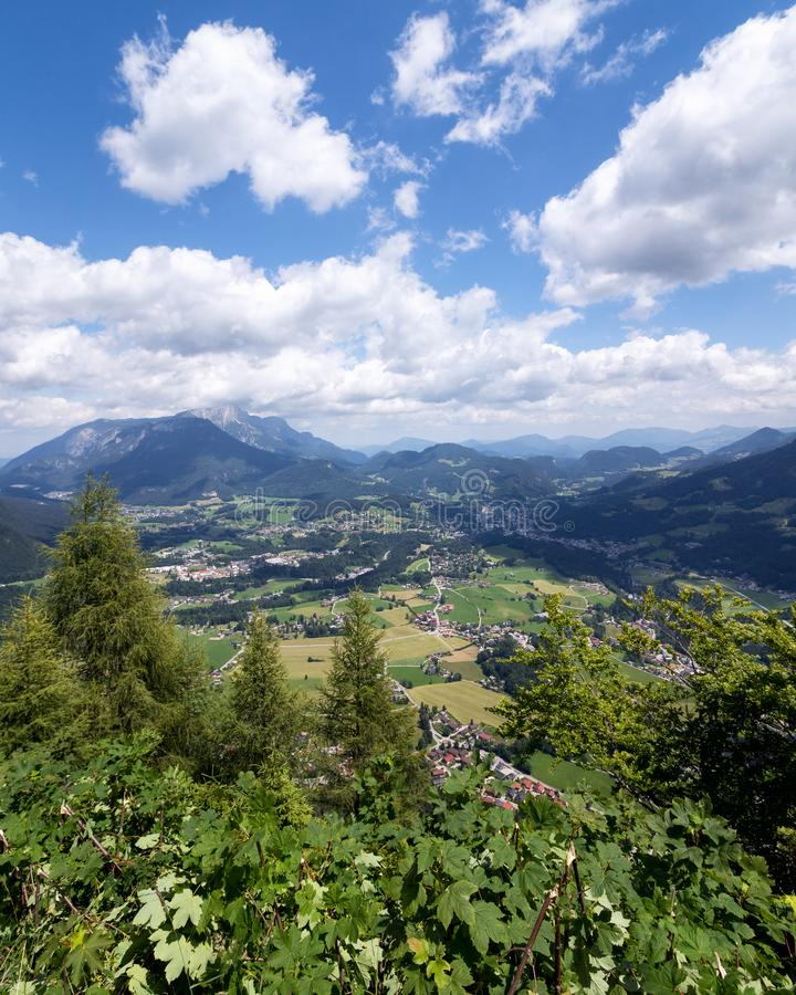 View from the top of Grünstein to the village of Berchtesgaden. Mountain landscape in the Bavarian Alps. Berchtesgadener Land, Bavaria, Germany stock photography