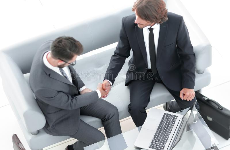 View from the top. handshake business colleagues. Photo with copy space stock photos