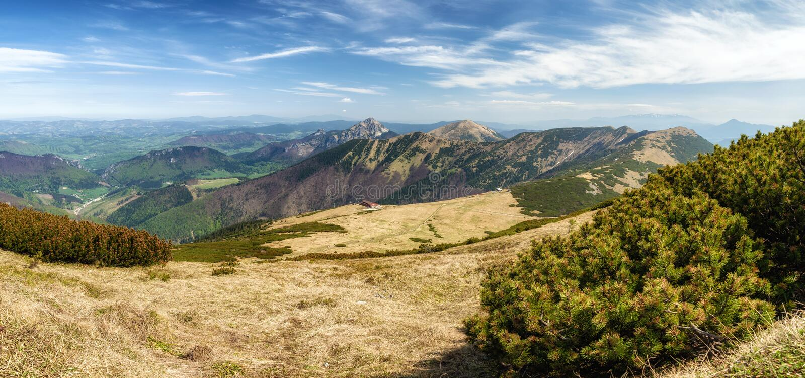 Panoramic mountain landscape stock photography