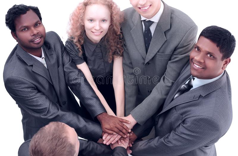 View from the top.international business team showing their uni royalty free stock images