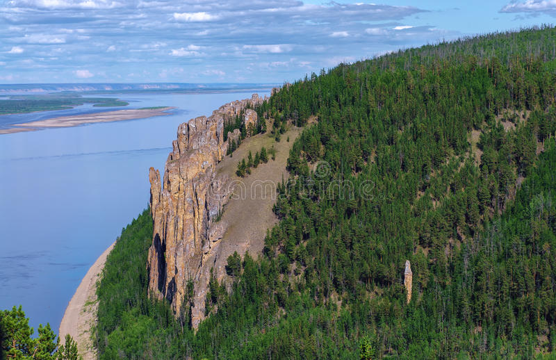 View from the top of Lena Pillars National Park. View point of National heritage of Russia Lena Pillars placed in republic Sakha, Siberia stock photography