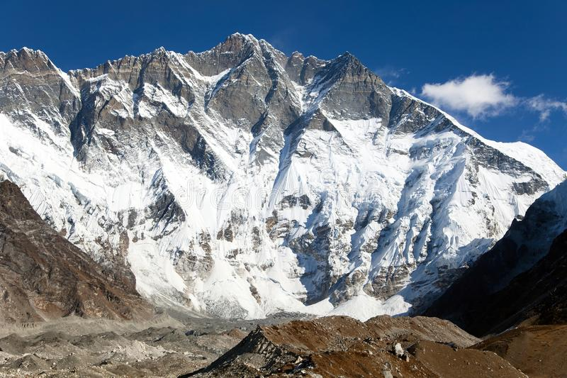 View of top of Lhotse, South rock face. Way to Everest base camp, three passes trek, Everest area, Sagarmatha national park, Khumbu valley, Nepal royalty free stock photos