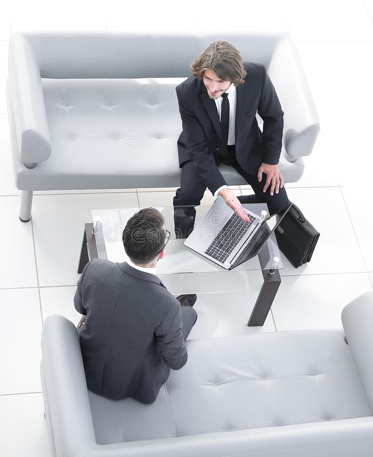 View from the top .meeting business colleagues. Photo with copy space stock photos