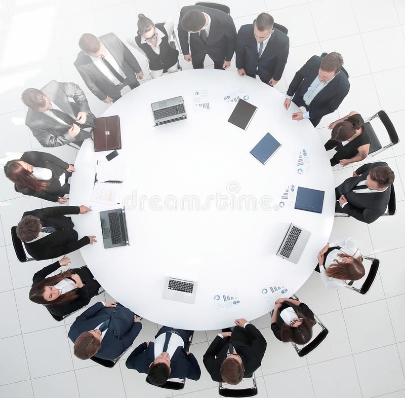 View from the top.meeting business partners for round - table. royalty free stock photos