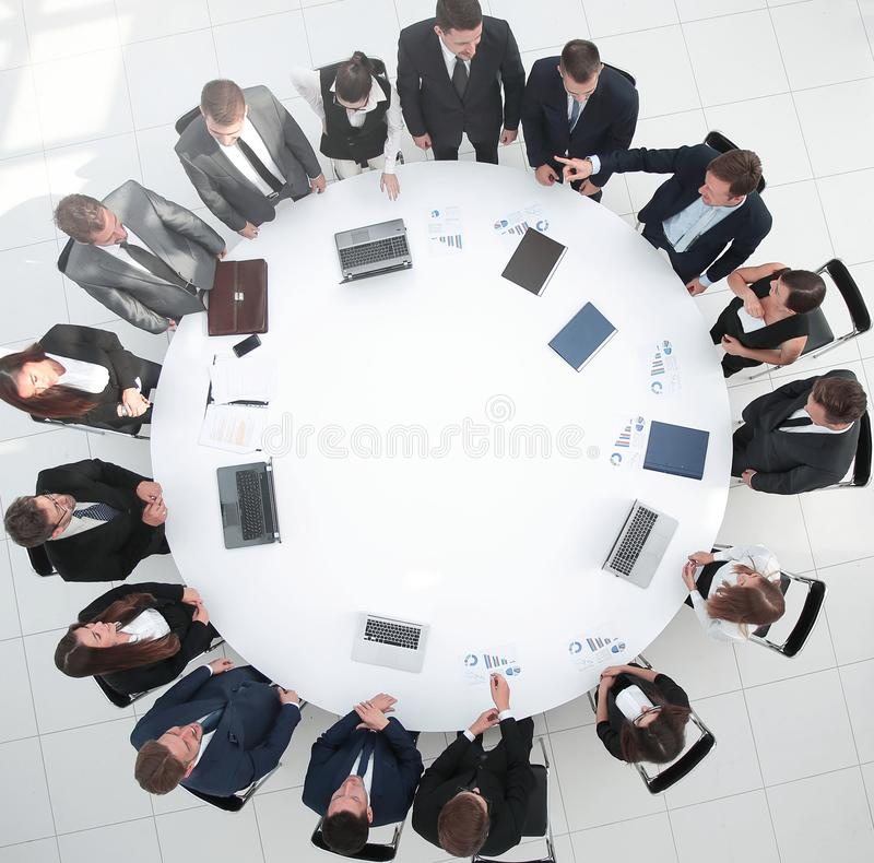 View from the top.meeting business partners for round - table. stock photos